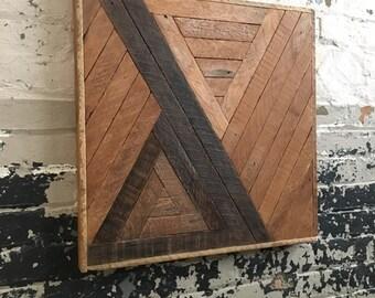"Reclaimed Lath Wood Wall Art 21""x 21"", Natural Wood Geometric"
