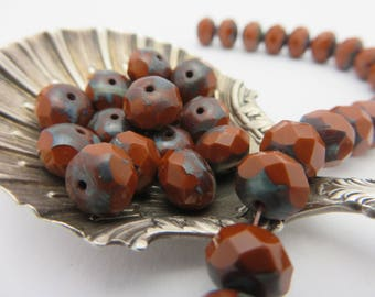 Rich Sienna Brown Rustic CZECH Glass 8X6mm Rondells with Picasso (25 Beads full strand) Always Low Shipping!