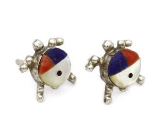 Inlay Tortoise Studs, Zuni Stud Earrings, Turtle Earrings, Lapis Coral Gemstones, Mother Of Pearl, Multi Stone Tortoise Jewelry, Small Studs