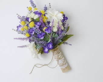 Lavender Bouquet, Wildflower Bouquet, Boho Bouquet, Wedding Bouquet, Purple Bouquet, Billy Button, Silk Wedding Bouquet, Rustic Bouquet