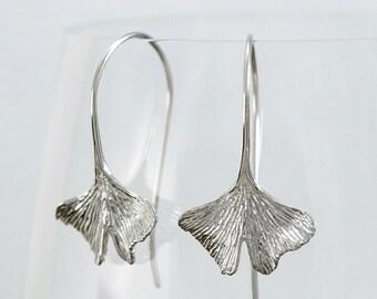 Leaf Earrings, Ginko Leaf Earrings - dangle earrings - sterling silver