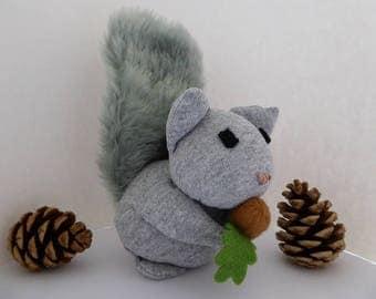 Handmade fabric squirrel ornament