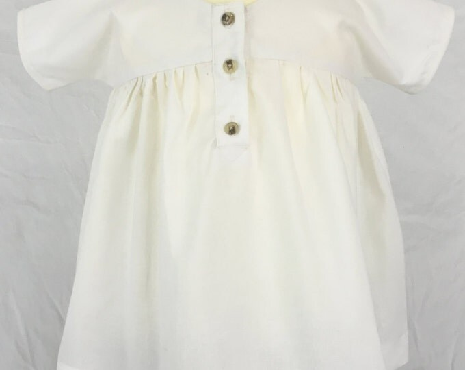 White Baby Smock Dress, size S/M, Organic Cotton, Children & Toddler Clothes, Rustic Flower Girl Dress, Photo Prop, Classic Girl's Dress