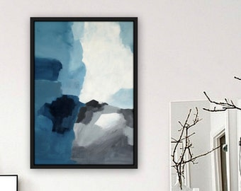 Abstract painting. Abstract landscape. Acrylic on canvas. Blue, grey, black. Impressionist landscape.