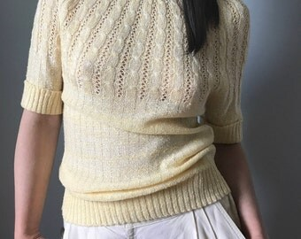 Vintage 80s Boatneck Sweater Buttercream Short Sleeve