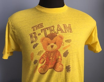 80s Vintage B-Team 1984 teddy bear A-Team Mr. T. T-Shirt - MEDIUM