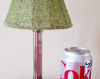 Beaded Shade Tealight Holder - Silvertone Candle Holder - Tealight & Candle Holder Green Beaded Shade - Powder Room Lamp - Romantic Lighting