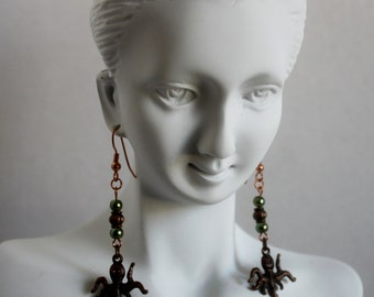 Adorable Earrings, with bronze colored Octopus, Ocean creature, Sea animal