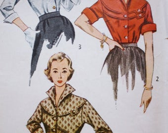 1950s Blouse /Simplicity 3700 /Vintage Sewing Pattern / Button Front Round Yoke /Bust 32