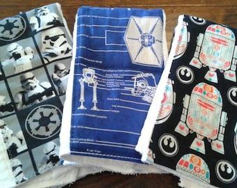 Star Wars baby burp cloth set  premium diaper R2D2 stormtrooper six ply manly husband friendly rey shower gift present
