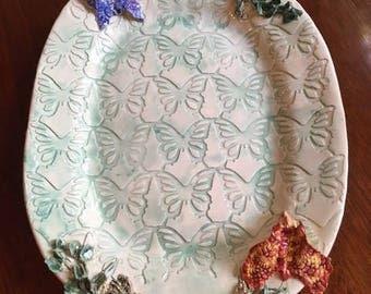 Handmade Ceramic Platter For Spring With Butterflies