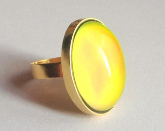 Mood Ring 8k 333 - 14k 585 Yellow Gold - 25x18 mm - big stone - DELUXE