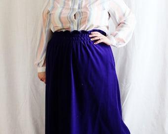 Plus Size - Vintage Purple Velour Paper Bag Waist Maxi Skirt (Size 18/20)
