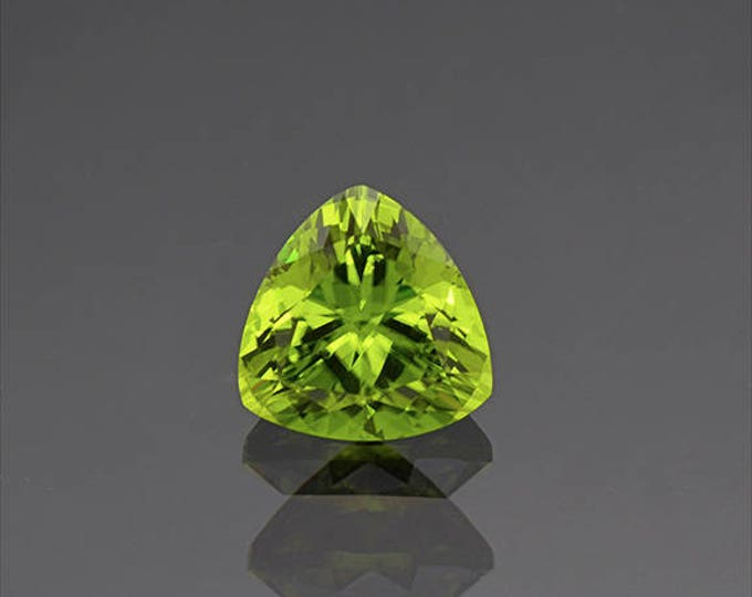 Stunning Lime Green Peridot Trillion Gemstone from Ethiopia 4.05 cts.
