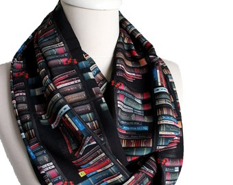 Bookshelf Scarf Infinity Scarf Book Scarf, Book Lover Gift, Librarian Scarf Geek Literary Gift For Women Her Ideas Clothing Gift