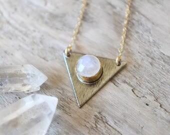 rainbow moonstone gold necklace /// oxidized silver triangle necklace - geometrical minimalist jewelry /// june birthstone