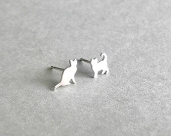 Tiny Silver Cat Earrings