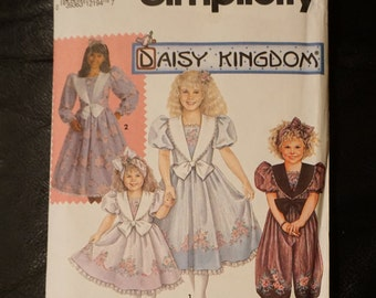 Classic Daisy Kingdom Girls Easter Dress with Bow, Romper, Sailor Suit, Party Dress Pattern, Simplicity 7698, Size 6-8 K, Uncut, Vintage 90s