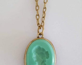 German Glass Mint Green Intaglio Necklace by Extasia