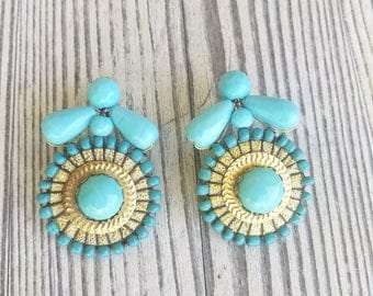 Turquoise Statement Earrings - Turquoise and Gold Earrings - Tribal Earrings - Bridesmaid Earrings - Wedding Earrings - Beach Jewelry