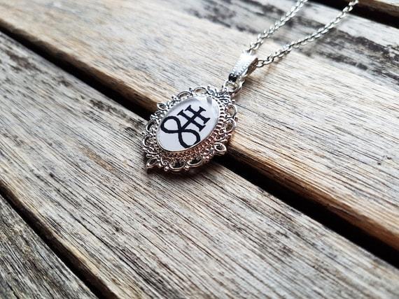 Sulfur (Brimstone - Leviathan Cross - Satanic Cross) Cameo - Sulfur Pendant - Sulfur Necklace- Brimstone Pendant- Brimstone Necklace- Occult