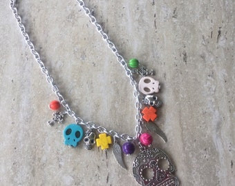 Day Of The Dead, Day Of The Dead Necklace, Dia De Los Muertos, Dia De Los Muertos Necklace, Day Of The Dead Jewelry, Sugar Skull, Colorful