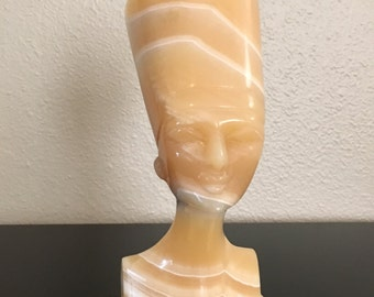 Vintage Marble Egyptian Queen Nefertiti Head Bust