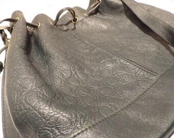 1980s Vintage Phillippe Leather Drawstring Shoulder Bag Dark Forest Green Moc Croc