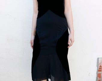 junya watanabe for comme des garcons velvet dress with shear panels