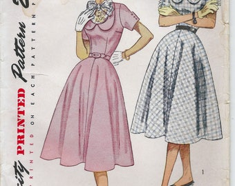 1950s Simplicity 3524 Junior's One Piece Dress with Detachable Vestee Sewing Pattern CUT