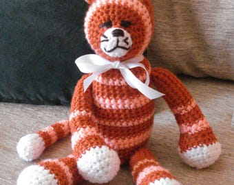 "Crocheted kitty cat stuffed animal doll toy ""Jester"""