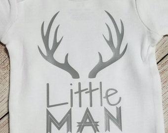 Little Man Baby Onesie. Newborn Onesie. Antlers. Take Home Outfit.