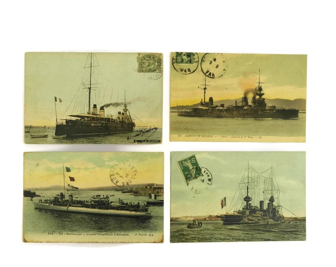 French Antique Warship Postcards. Antique Maritime Collectibles. French Navy & Boat Post Cards.