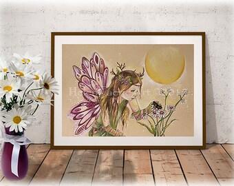 Fairy Art Print, Ready to Frame, Fantasy Art Print, Flower Fairy Wall Print, Nursery Wall Art, Flower Fairy Art, Pink Fairy, Summer Print