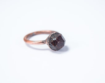 Raw garnet ring | Deep Red Garnet ring | Electroformed Garnet ring | Raw stone ring | January Birthstone | Raw mineral ring
