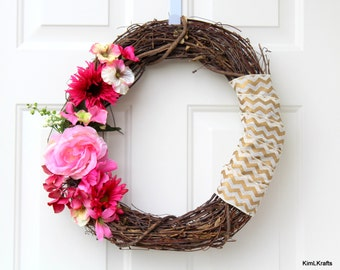 Wreath - Door Decor - Pink Wreath - Year Round Wreath - Grapevine Wreath - Spring Wreath - Door Wreath - Front Door Wreath