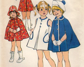 Simplicity 6826 Sewing Pattern, Girl's A-Line Jumper or Dress and Cape, Girl's Size 6, Uncut Vintage Pattern