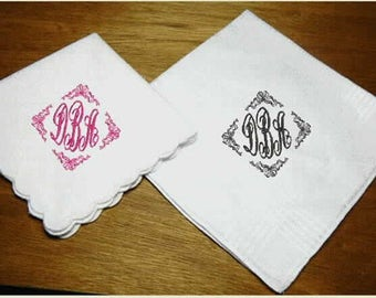 Monogramed Wedding Handkerchiefs for Bride and Groom, personalize hanky, custom hankies, wedding gift, mother of bride, father of groo