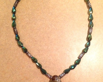 Green, Beaded Necklace, Focal bead,