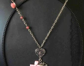 Pink Flower Necklace, Gift For Her, Pink Necklace, Red Flower Necklace, Feminine Jewelry, Flower Jewelry, Feminine Necklace, Flower Necklace