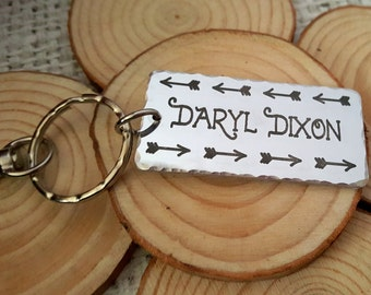 The Walking Dead Inspired-Engraved Team Daryl or Daryl Dixon Key Chain with Wings on the back