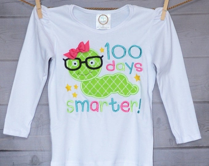Featured listing image: 100 Days of School Smarter Applique Shirt or Onesie Boy or Girl