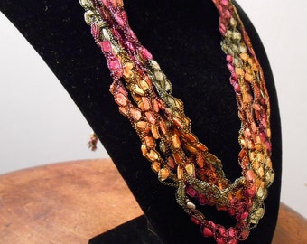 Pink Green and Orange Trellis / Crochet Necklace No. 71