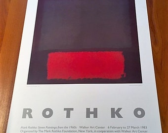 mark rothko print walker art center poster olive green red on maroon