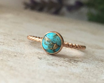 6 mm Copper Turquoise Ring - 14K Rose Gold Filled Twisted Rope Ring - Stackable Ring
