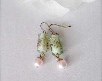 Czech Glass Earrings, Vintage Lampworked Czech Glass, Pink Swarovski Pearl Drop Earrings, Pearl Earrings, Czech Glass Earrings, Gift for Her