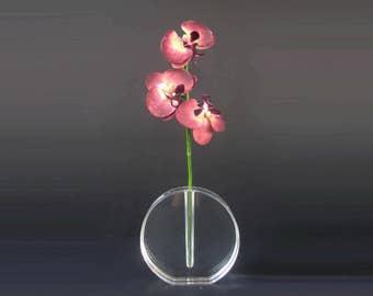 Stunning Mid Century Lucite Vase/ Ikebana/ Modernist Round Sculptural Vase/ Thick Acrylic Bud Vase/ Geometric Vase/ Bud Vase/ MCM/ Clear