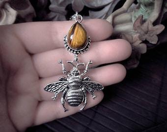 Honey Bee Pendant, Tiger Eye Pendant, Bumble Bee, Insect Pendant, Bugs, Spring Pendant