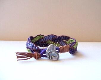 Cute Elephant Beaded Braided Leather Wrap Cuff Bracelet, Beaded Leather Cuff, Elephant Bracelet, Elephant Jewelry, Leather Jewelry