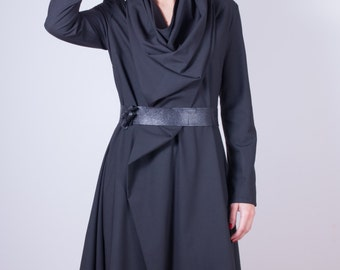 Drape dress/ Minimalist dress/ Long Sleeved dress / Black Women's dress/ Casual dress / Asymmetrical dress